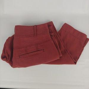 Free People Red Button Fly Twill Pants Size 10